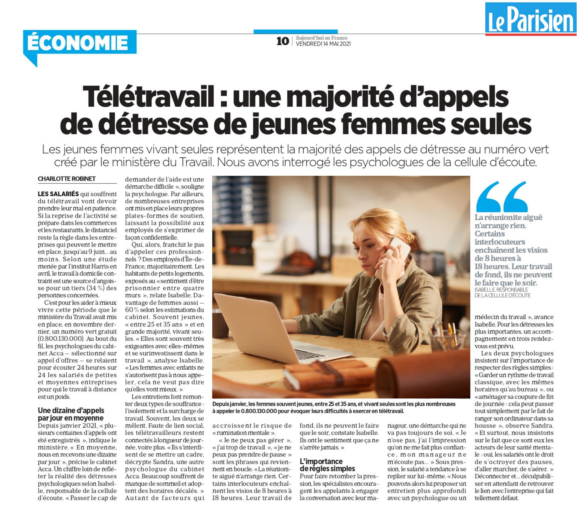 Cellule d'écoute psy Ministère du Travail article Le Parisien